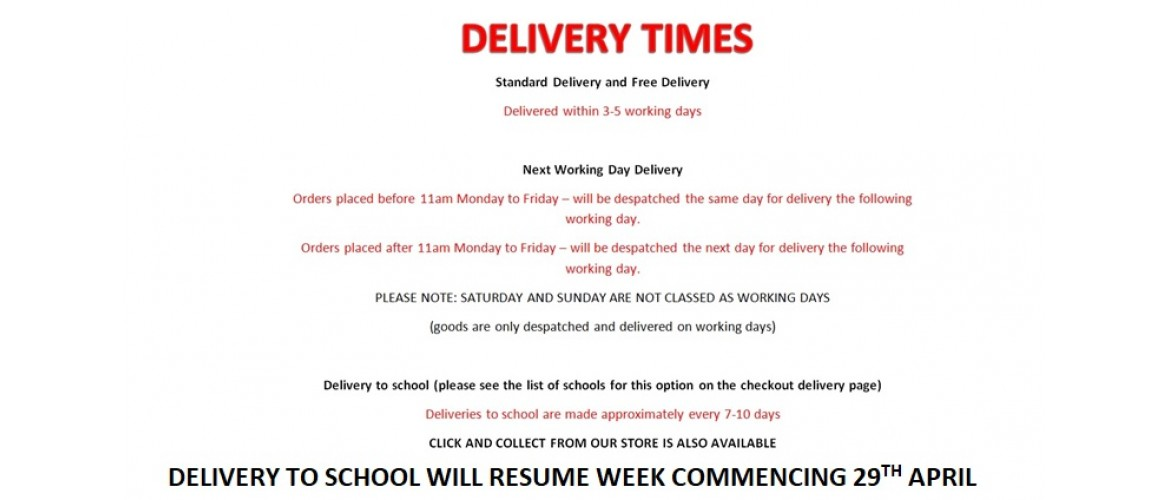 Delivery Times with school suspended