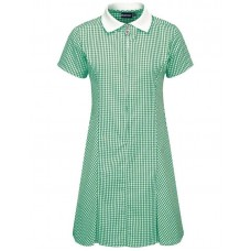 Gingham Dress A-Line - Bottle Green