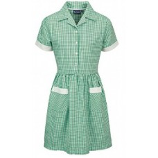 Gingham Dress- Bottle Green