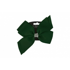 Hair Clip - Diamante Bow Bottle Green