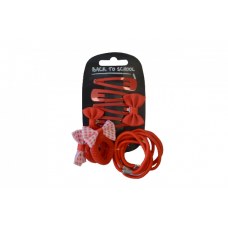 Bow, Clips & Bobble - Red