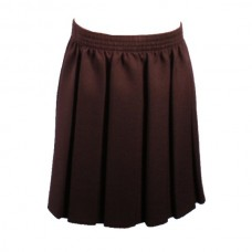 Girls Box Pleat Skirt - Brown