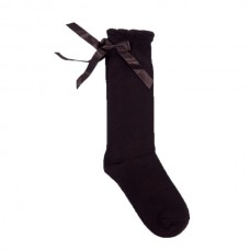 Socks Satin Bows - Brown