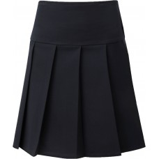 Deep Waist Pleated Skirt - Navy