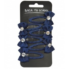 Diamante Bow Clips - Navy Blue