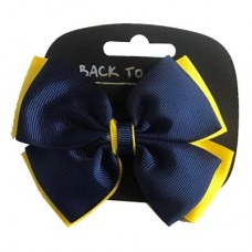 Hair Bow - Navy/Gold