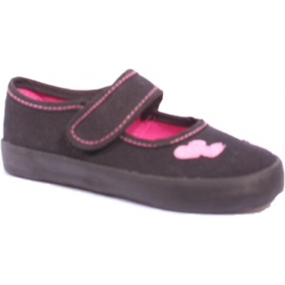 Plimsoll Heart Embroidered -  Black Sports Shoes