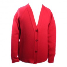Cardigan. Red and Grey
