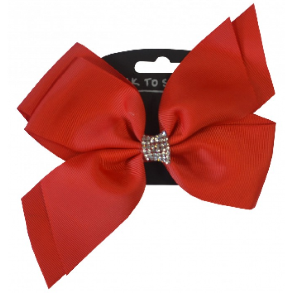 Hair Clip - Diamante Bow Red