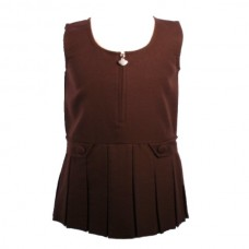 Girls Zip Front Pinafore - Brown